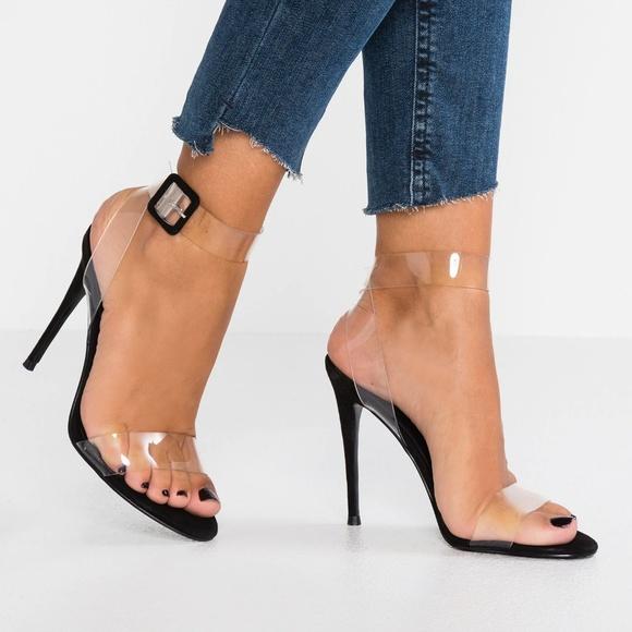 d7578fd91bff Steve Madden Black Sandals with Clear Straps. M 5c2711d96a0bb7f38bda9373